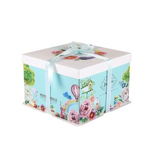 生日蛋糕盒子6/8/10/12/14/16寸方形手提烘焙包裝盒定製logo免郵