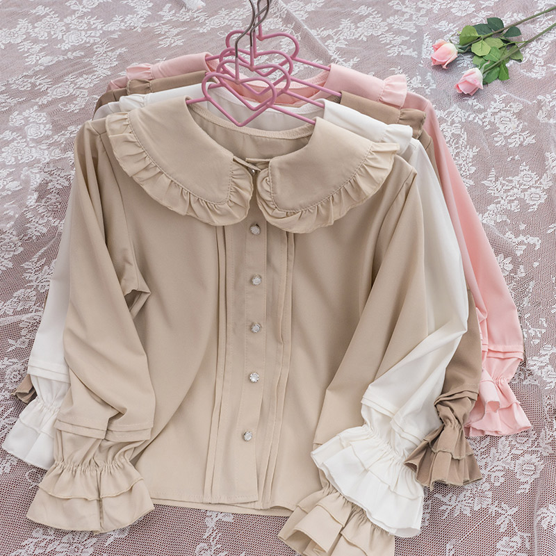 酱果shop雪纺木耳花边大翻领Lolita内搭短袖衬衣长袖洛丽塔衬衫女