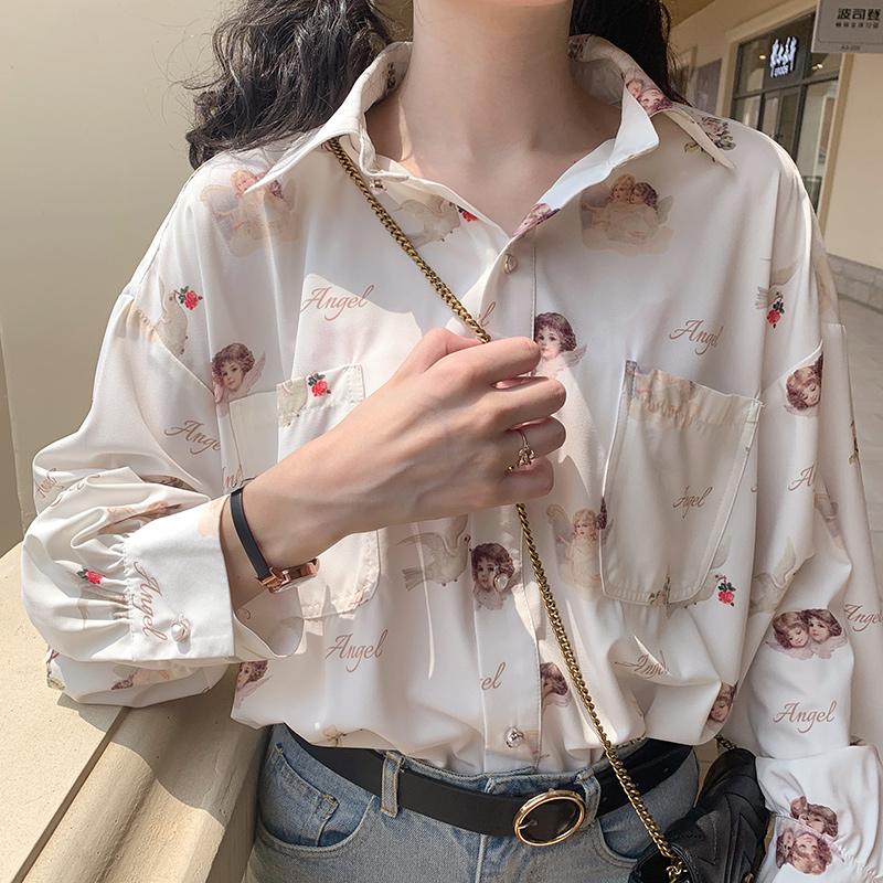 日系灯笼袖天使印花BF风复古港味少女设计感衬衣上衣长袖雪纺衬衫