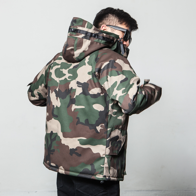 Winter camouflage cotton padded clothes mens fashion brand American style work coat hooded cotton padded coat large size stormsuit Korean thickened cotton padded jacket