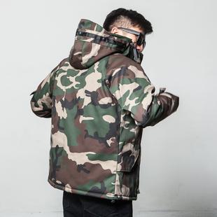 冬季迷彩棉服男潮牌美式工装外套连帽棉衣大码冲锋衣韩版加厚棉袄