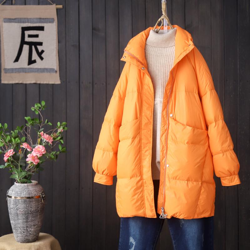 清晨雨宽松文艺白鸭绒羽绒服女冬新品韩版立领中长款休闲羽绒外套