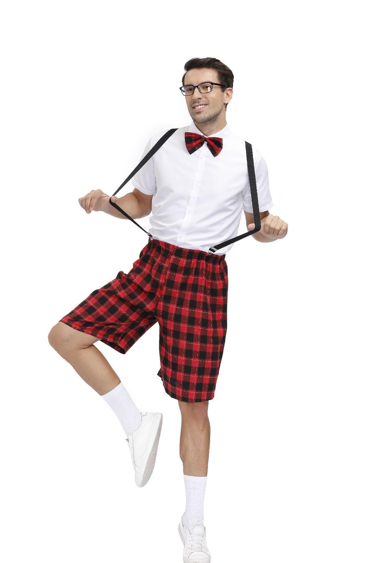 万圣节情侣校服套装夜店学生制服角色扮演服舞台演出服装格子