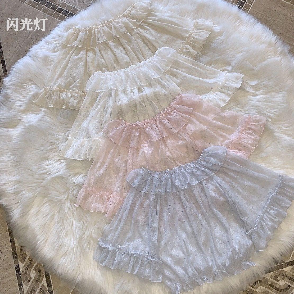 2019洛丽塔蕾丝网纱内搭lolita软妹短袖打底衫雪纺夏季上衣衬衣女