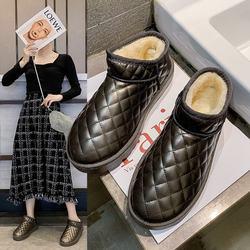 秋冬季加绒加厚雪地靴女2020新款时尚短筒短靴一脚蹬百搭女靴子潮