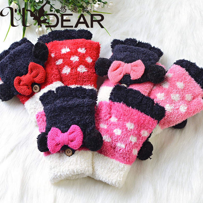 Udilla Taiwan MIT Half Finger Gloves Winter 8-15 year old girl bow half bag cover gloves student gloves