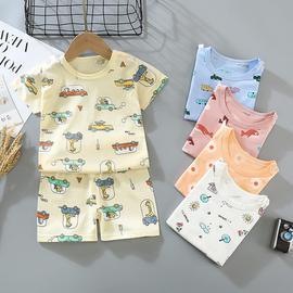 儿童短袖短裤套装中小童夏季宝宝纯棉内衣男童女童圆领T恤衫