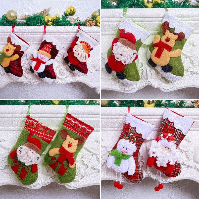 Christmas socks gift bag gift Christmas decoration set fruit gift bag Christmas socks for men and women Christmas.