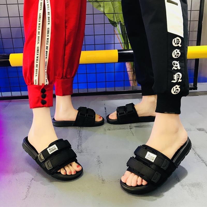 网红情侣拖鞋女夏时尚外穿韩版一字拖2020新款沙滩防滑凉拖鞋潮男