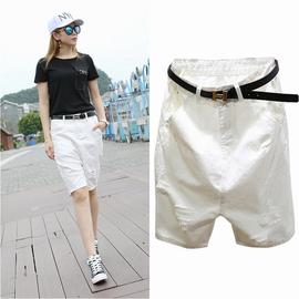 左一韩版高腰大码白色牛仔短裤ins五分裤女夏宽松显瘦bf风5分中裤