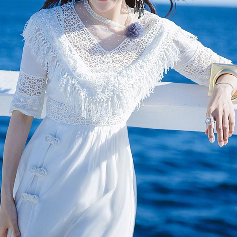 白色女仙气质ins网红蕾丝夏连衣裙