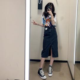 WMXZ 2019韩版高腰显瘦牛仔包臀裙中长款半身裙四色入