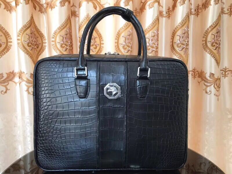 Selected crocodile belly refined business leisure handbag briefcase full leather double skin hanging bag is also cow leather