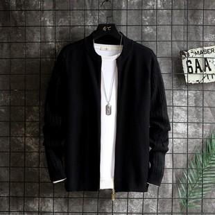 秋季毛衣外套男拉链长袖开衫纯色针织衫休闲中青年韩版男装潮流价格