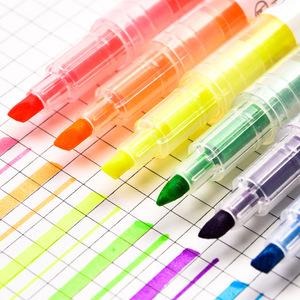 直液式荧光笔双色复古色橙色浅色粉色蓝色大容量学生细迷你标记笔记儿童红色粗黄色直液双头记号笔彩色学生用