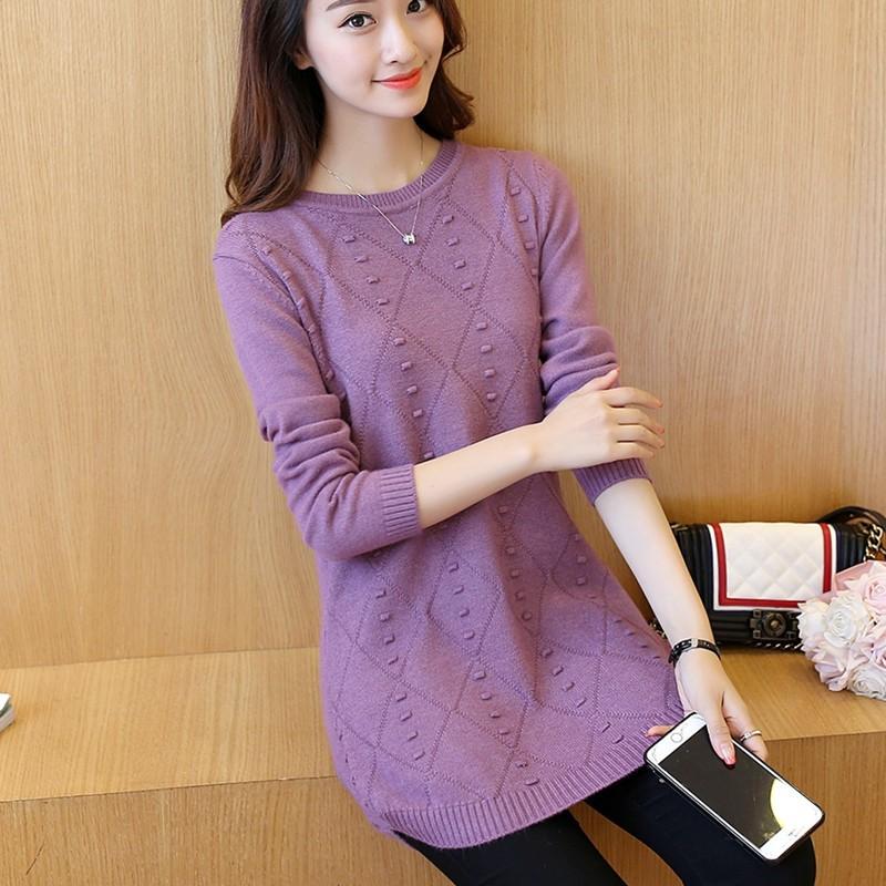 2019 spring new Korean loose womens knitwear sweater womens medium length thin round neck base coat