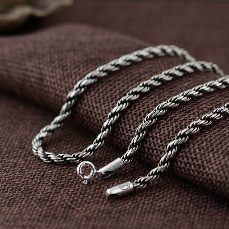 Mens Mahua Necklace pure silver S925 Thai silver antique style simple rough Mahua silver chain pendant versatile partner