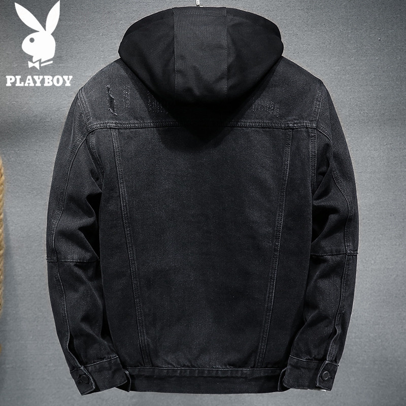 Playboy winter thick denim jacket mens detachable hooded mens coat thickened jacket mens jeans