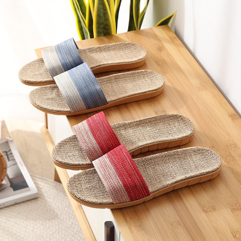 2021新款居家编制织布亚麻室内防滑情侣地板拖鞋夏季透气开口拖