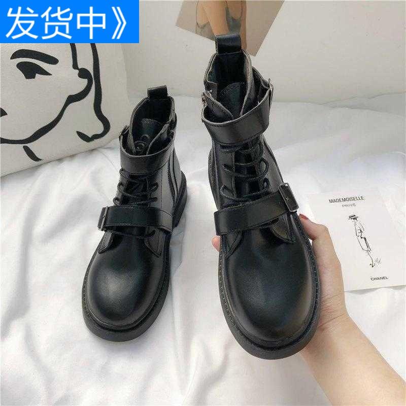 厚底短靴秋款马丁靴女低帮马丁靴女英伦风低帮低筒短靴复古帅气
