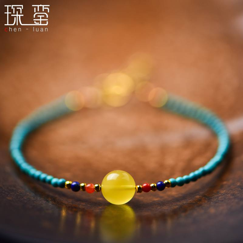 。 Natural Turquoise Bracelet amber wax South Red Lapis hand string single circle bead chain lovers jewelry