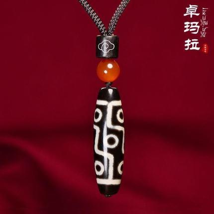 男士九眼天珠天然西藏真品卓玛拉玛瑙九眼天珠吊坠天珠天然西藏真