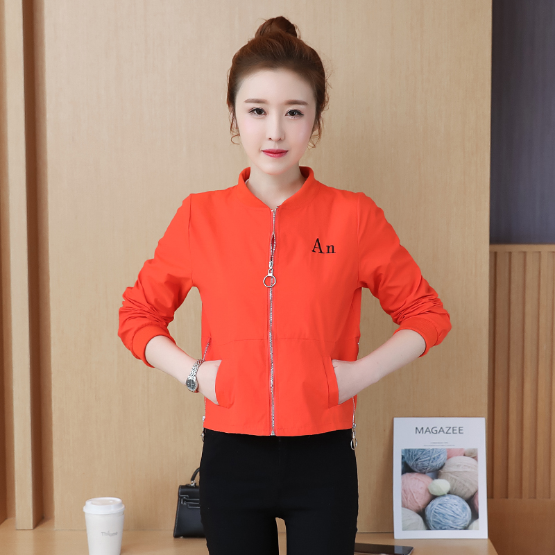 Korean version versatile embroidery short short jacket Baseball Jacket Top thin jacket womens spring and autumn 2020