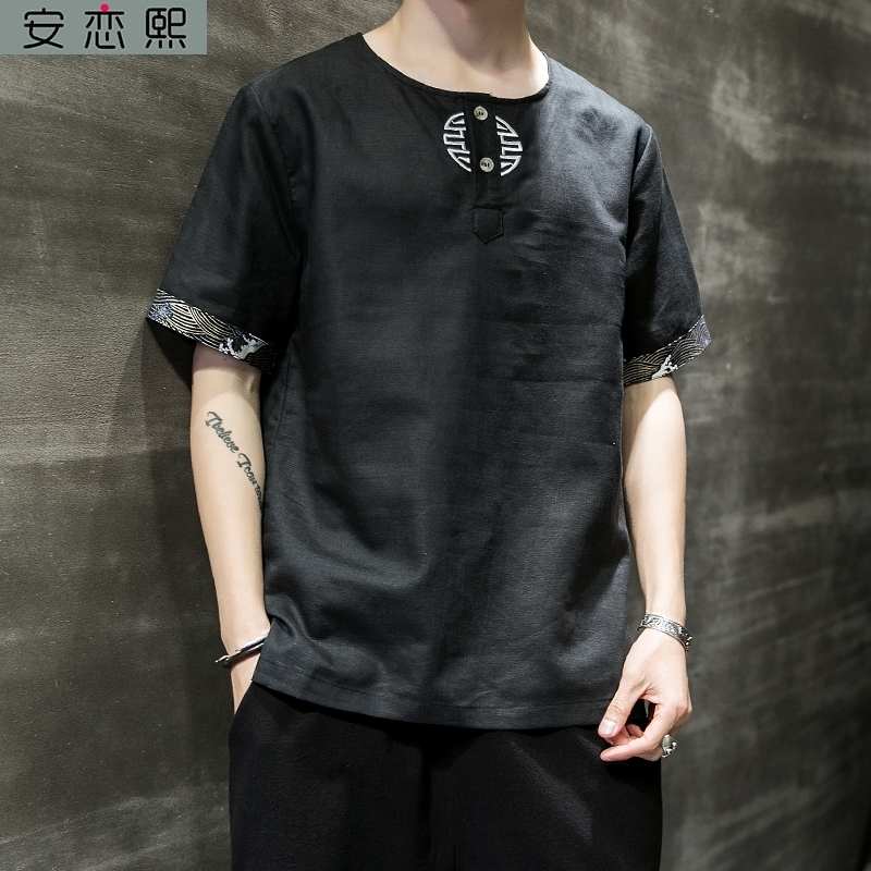 Buddhist linen breathable cool National Style Embroidered short sleeve male Taoist costume Chinese style Zen T-shirt body summer