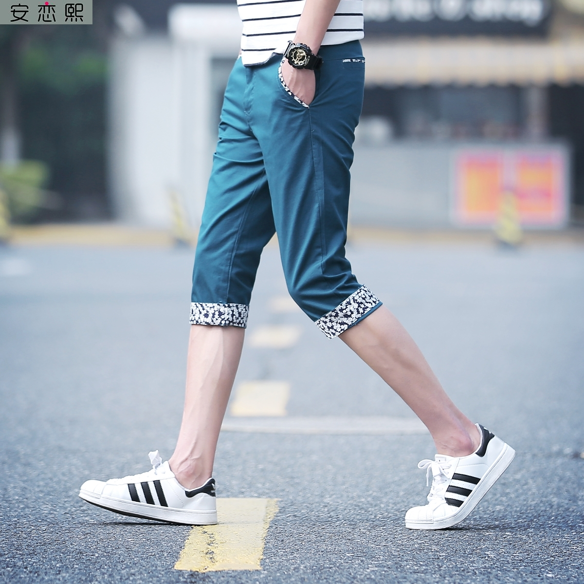 Summer original night breeches mens native port style ins7 7 points over the knee 8 points tied feet relaxed slim fit iron free pants