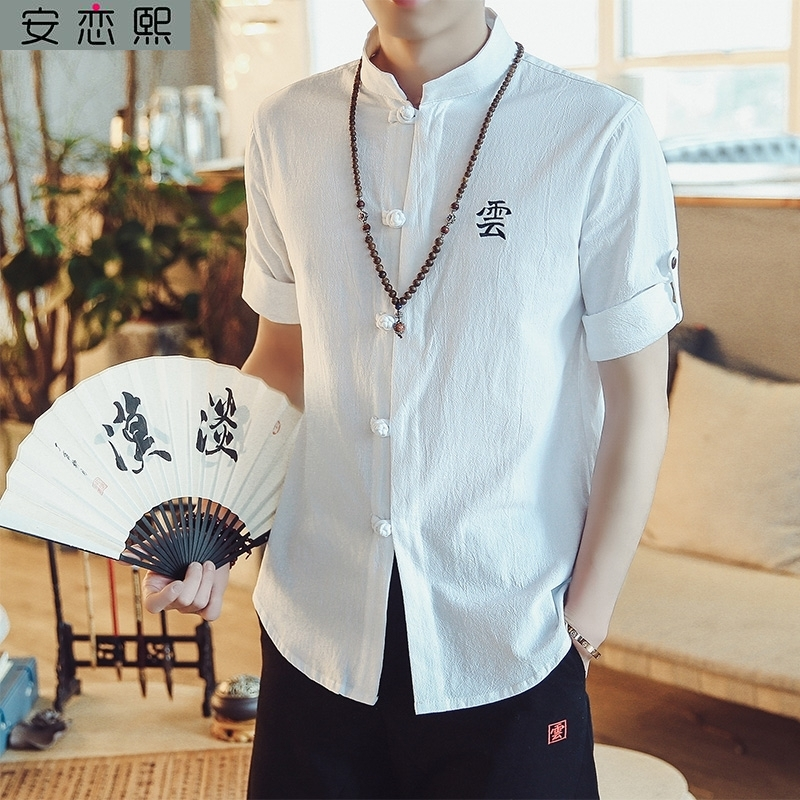 Ethnic minority national style mens clothing, linen cotton embroidery, antique T-shirt, summer Han element, Buddhist system