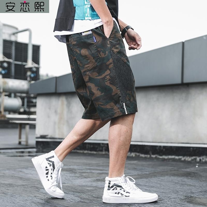 肥仔宽松肥佬牛仔加肥加大码潮胖短裤子男夏裤外穿肥胖男装米迷彩