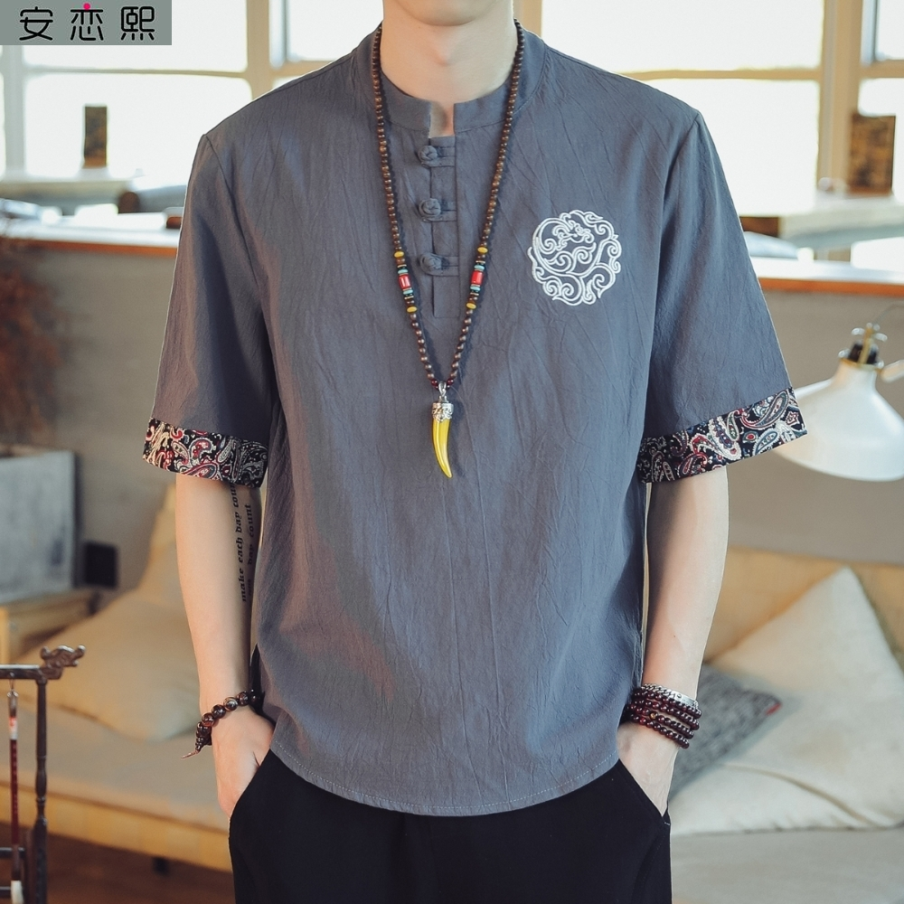 T-shirt summer short sleeve t-shirt mens Chinese style ethnic fat guy National Style Mens clothing linen coarse cloth clothes ancient style