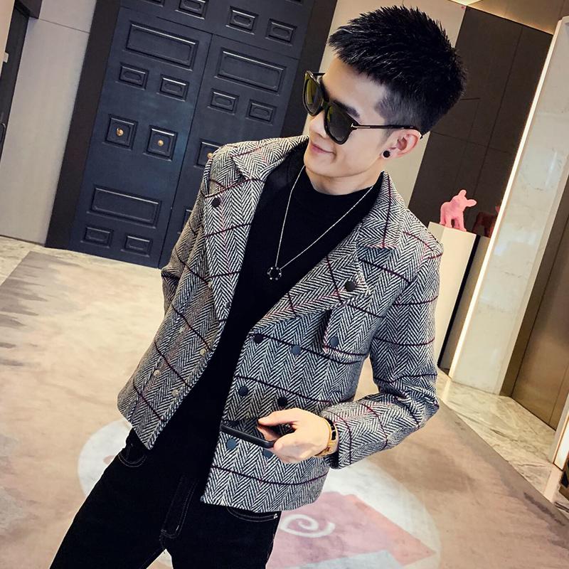 社会风春季人字尼修身短款西装领呢大衣上衣B297-910-P125
