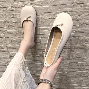 圆头拖鞋女外穿浅口包头懒人半拖鞋平跟芭蕾舞单鞋仙女休闲豆豆鞋