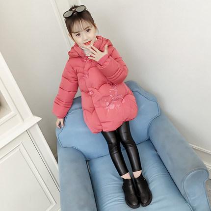女童棉衣2018新款韩版冬装儿童洋气棉服中大童冬季中长款加厚棉袄