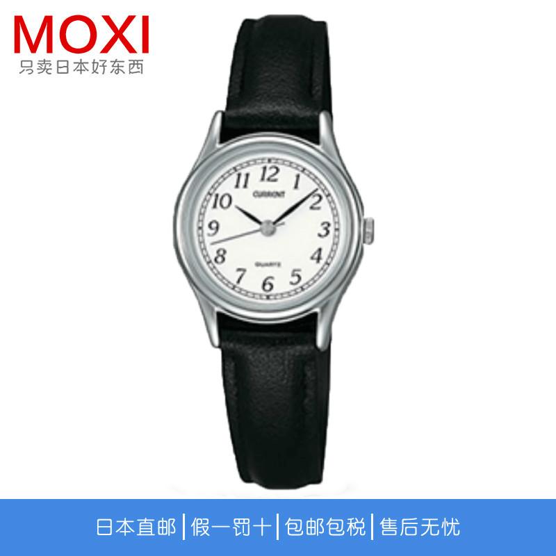 精工手表女时尚简约黑色皮带指针石英女表AXZN015