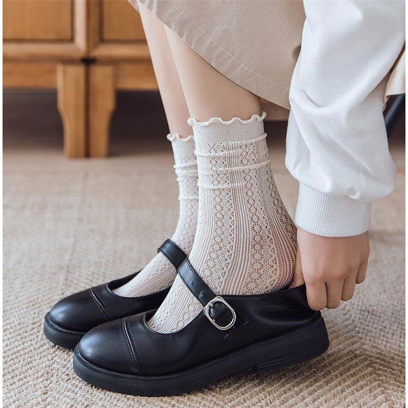 木耳边长袜子女中筒JK春秋ins潮韩国日系夏季薄款镂空透气堆堆袜