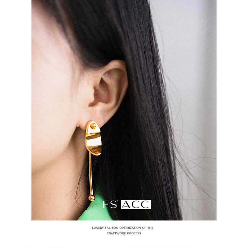 [FS] exaggerated fashion cool Earrings European and American fashion brand street fashion style simple texture gold long needle Earrings