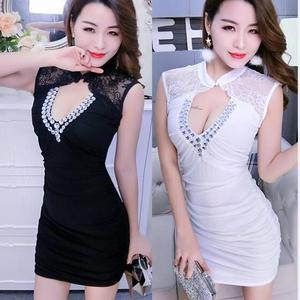 8102#露胸夜场女款裙深V领性感夜店女装新款包臀修身连衣裙