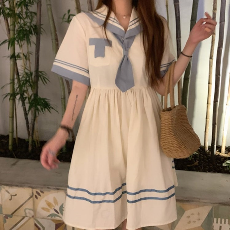 Navy collar light short sleeve Lo dress spring and summer 2020 Japanese department female student JK sweet academy wind Lolita Fairy