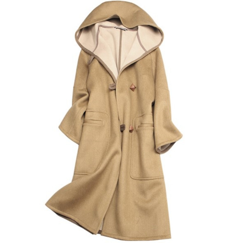 Cashmere coat womens 2020 new medium and long high-end European goods hooded, thin, light and luxurious celebrity wool coat