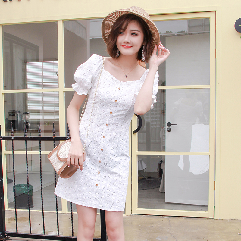 2019 new FAIRY DRESS super xiansen white square collar princess sleeve cotton dress