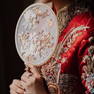 抖音小红书同款 新娘中式 婚礼团扇结婚绣禾服手捧花出嫁DIY材料包