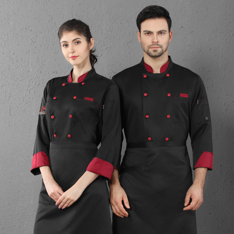 Restaurant chefs work clothes autumn and winter long sleeve customized lettering cake shop uniform Bakers work clothes baking and mounting