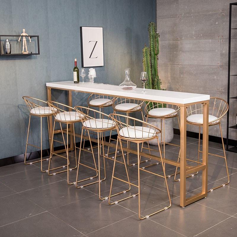 热卖出口北欧实木酒家用高脚桌椅简约组合奶茶咖啡店靠墙休闲家用
