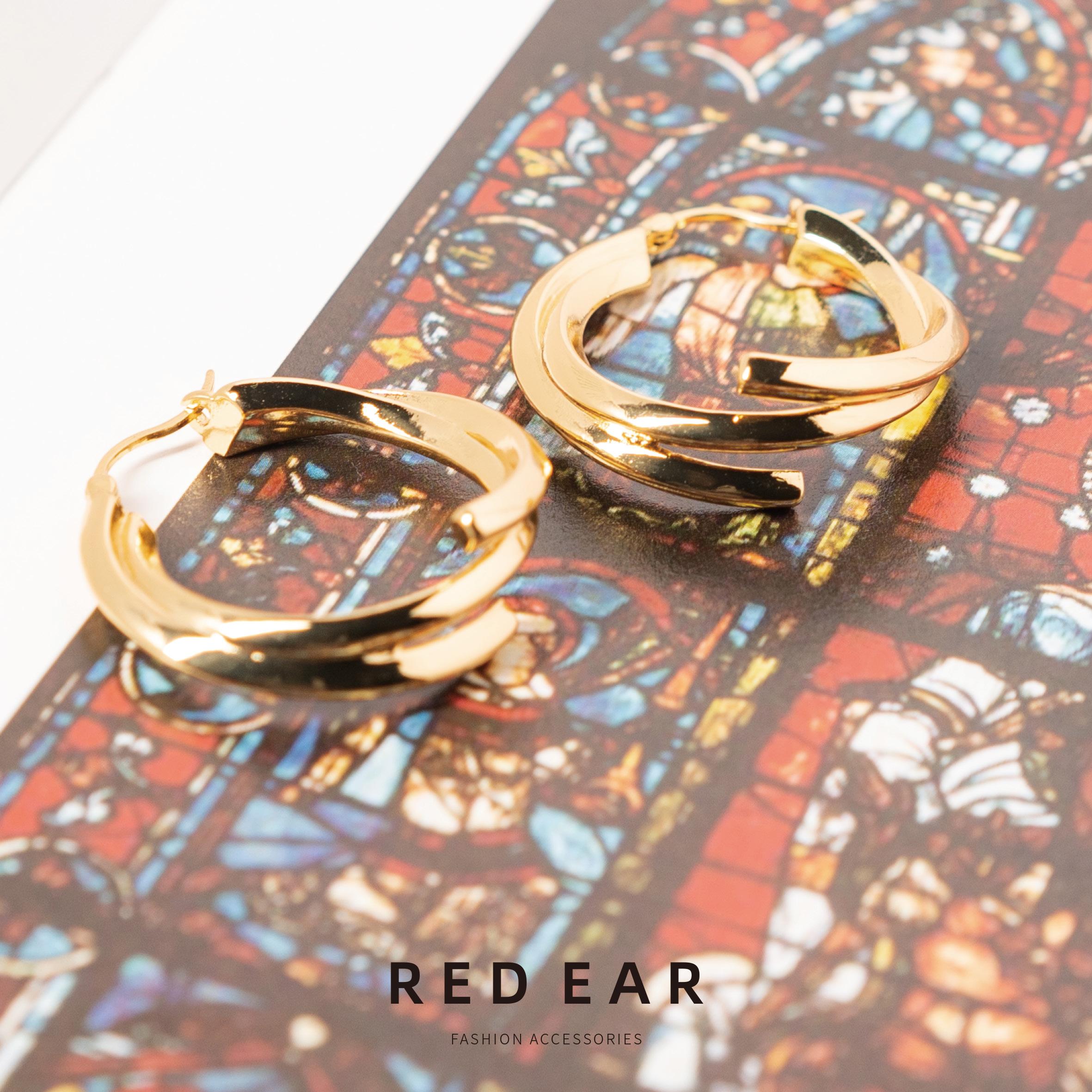 RED EAR欧美极简北欧风 艾克尼风格studio 小众设计 绕圈耳饰耳环