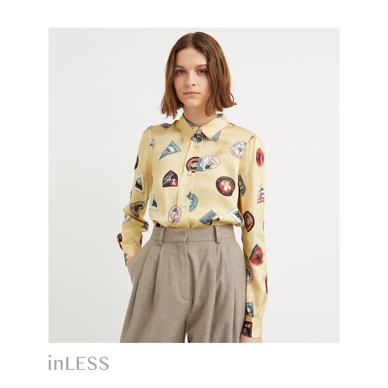 inLESS丨woodwood 徽章印花长袖衬衫女复古百搭设计感小众品牌