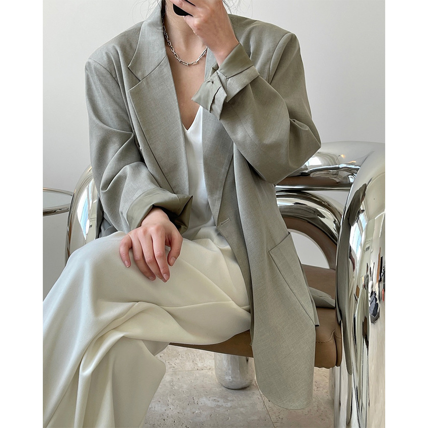 Winter late spring European and American fashion blogger style wide shoulder LAPEL SUIT loose thin Casual Jacket Women