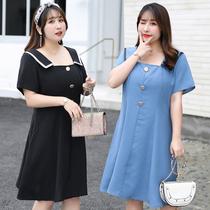 网红同款连衣裙社会女超大码纯色中长款胖妹妹收腰方形领显瘦夏装