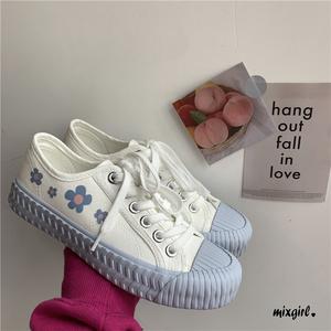 百搭學院風日系小白鞋甜美海鹽藍板鞋可愛餅干鞋涂鴉小花帆布鞋女
